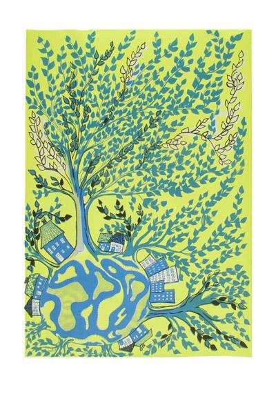 tree world blue yellow - mitteditt