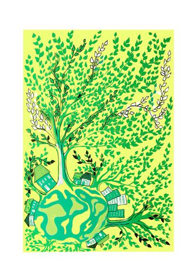 tree world green yellow - mitteditt