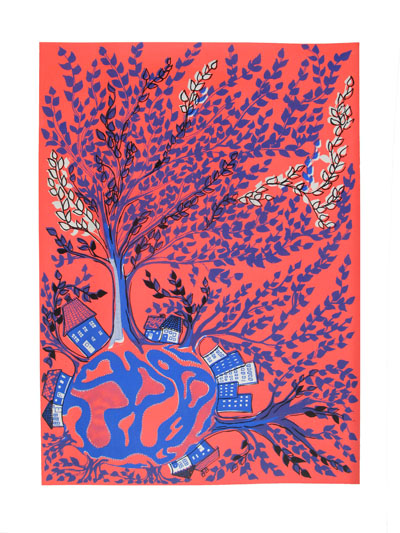 tree world red blue - mitteditt